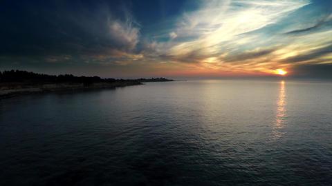 Aerial Sunrise Over The Sea FULL HD stock footage