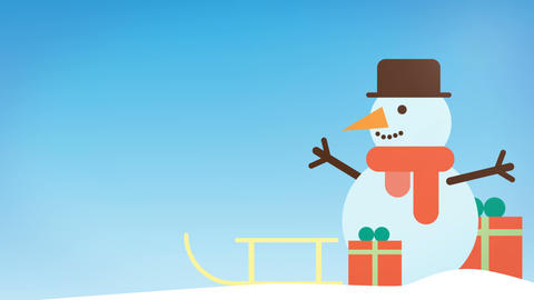 animation of a funny snowman wishes you a happy Christmas, ideal for the Footage