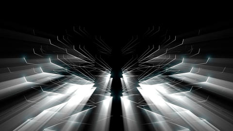 Appearing Rising Needle Strings With Shiny Glowing Rays VJ Loop Footage