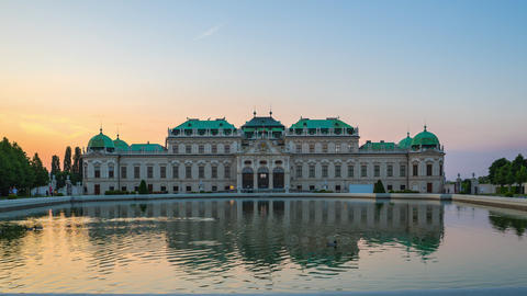 Timelapse of Belvedere Museum in Vienna, Austria time lapse 4K Footage