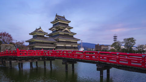 Day to night timelapse of Matsumoto Castle in Nagano, Japan time lapse 4K Footage