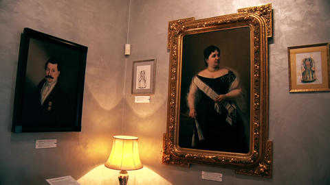 Old Classic Paintings on a Wall and Lamp in an old house from the 20th century Footage