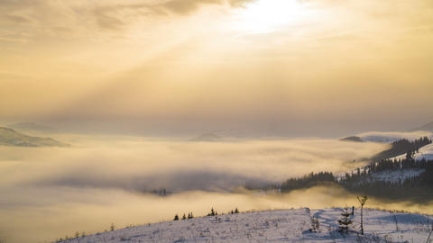 Foggy Morning in the Winter Mountains Footage