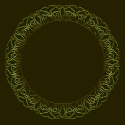 Golden circle frame on dark golden background. Filigree lace patterns, luxurious Vector