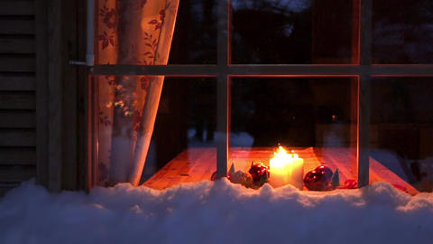 Christmas Candles in the Night Window Footage