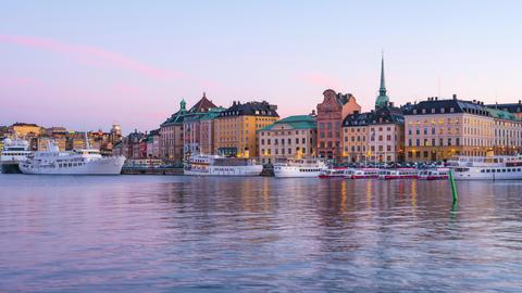 Timelapse of Stockholm city skyline at night in Stockholm city, Sweden time Footage