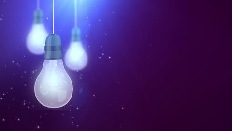 glowing bulb bulbs falling down hanging on string purple background Animation