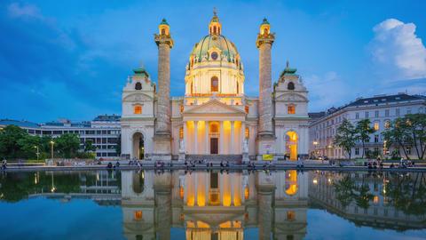 Timelapse of Karlskiche Church in Vienna city, Austria at night time lapse 4K Footage