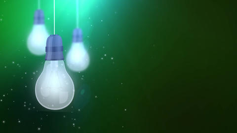 glowing bulb bulbs falling down hanging on string green background Footage