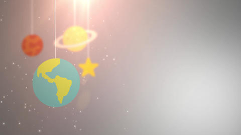 flat design planets falling down hanging on string white background star earth Animation