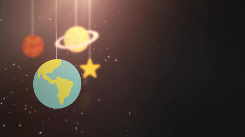 flat design planets falling down hanging on string black background star earth Animation