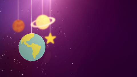 flat design planets falling down hanging on string pink background star earth Animation