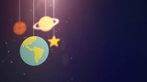 flat design planets falling down hanging on string blue... Stock Video Footage