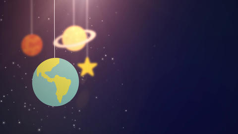 flat design planets falling down hanging on string blue background star earth Animation