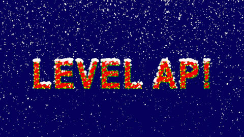 New Year text LEVEL AP!. Snow falls. Christmas mood, looped video. Alpha channel Animation