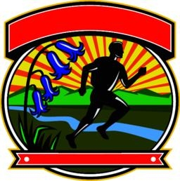 Trail Runner Bluebells Oval Icon Vector