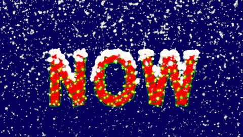 New Year text text NOW. Snow falls. Christmas mood, looped video. Alpha channel Animation