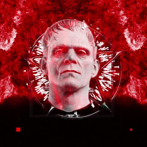 Frankenstein Monster Head Freddy Inside Glitching Pulsing Jumps VJ Loop Live Action