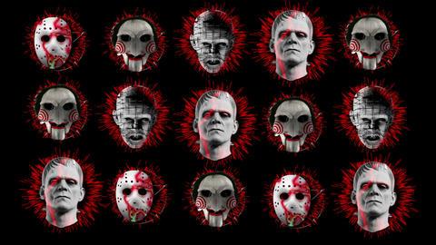 Moster Heads Clown Jigsaw Frankenstein Pinhead Hellraiser Horror Wall Texture Live Action