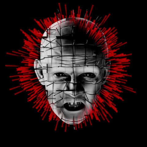 Black and White Pinhead Hellraiser Head Rotating Red Energy Black Background VJ Live Action