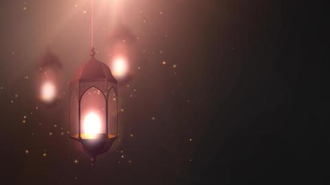 Ramadan candle lantern falling down hanging on string black background Animation