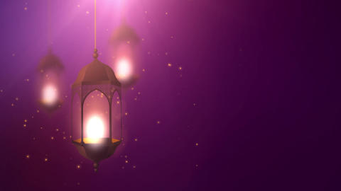 Ramadan candle lantern falling down hanging on string purple background Animation