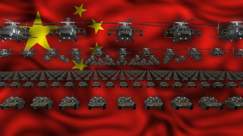 China Army Flag Heavy War Machinery VJ Loop Footage