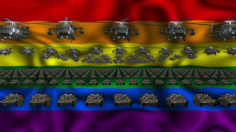 Gay Army Flag Heavy War Machinery VJ Loop Live Action