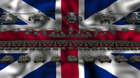 GB Army Flag Heavy War Machinery VJ Loop Live Action