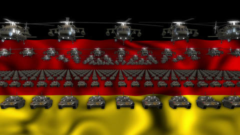 Germany Army Flag Heavy War Machinery VJ Loop Footage