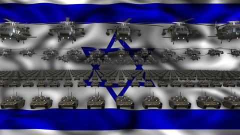 Israel Army Flag Heavy War Machinery VJ Loop Footage