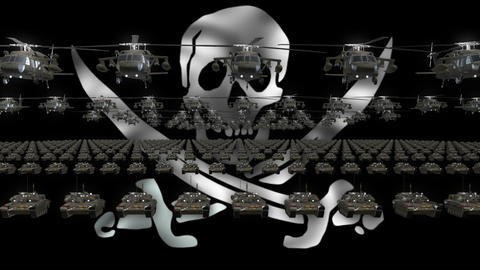 Pirate Army Flag Heavy War Machinery VJ Loop Footage