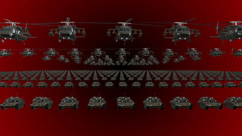 Red Army Flag Heavy War Machinery VJ Loop Footage