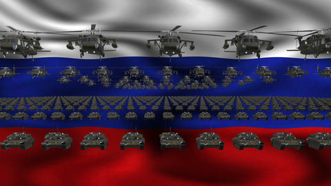 Russian Army Flag Heavy War Machinery VJ Loop Footage