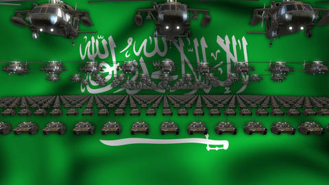 Saudi Arabia Army Flag Heavy War Machinery VJ Loop Footage