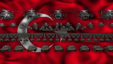 Turkey Army Flag Heavy War Machinery VJ Loop Footage