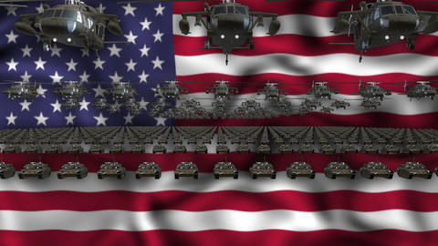 USA Army Flag Heavy War Machinery VJ Loop Footage
