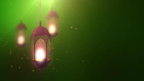 Ramadan candle lantern falling down hanging on string green background Animation