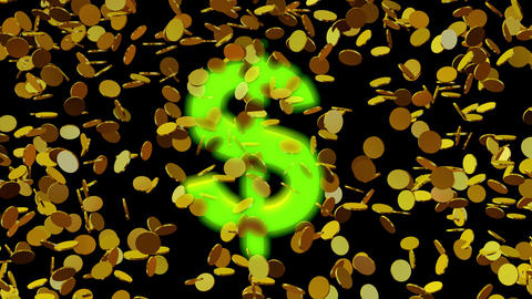 Money, gold coins spinning , floating.Glowing dollar sign Animation