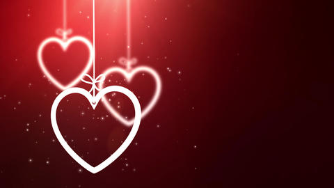 paper valentine hearts falling down hanging on string red background Animation