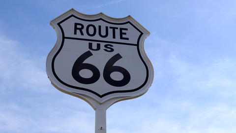 Sign Of Route 66 In Oklahoma United States Of America Live Action