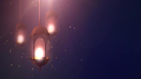 Ramadan candle lantern falling down hanging on string blue background Footage