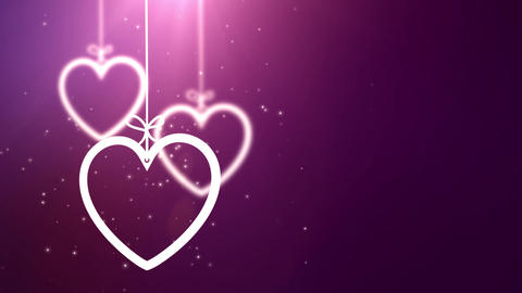 paper valentine hearts falling down hanging on string pink background Animation