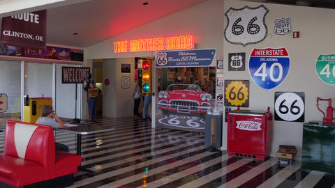 Route 66 Museum In Clinton Oklahoma USA With Vintage Objects Footage