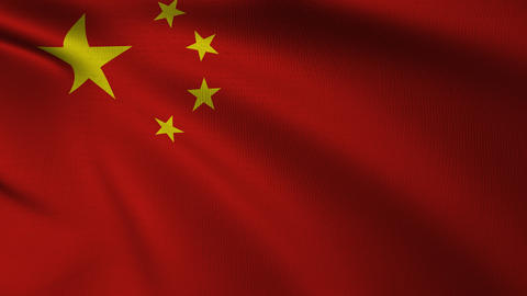 Chinese national Flag 4k Loop CG動画素材