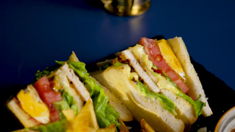 Top view of delicious sandwich with french fries Live Action