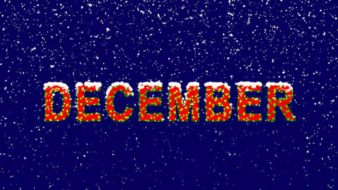 New Year text name of the month DECEMBER. Snow falls. Christmas mood, looped Animation