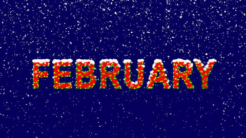 New Year text name of the month FEBRUARY. Snow falls. Christmas mood, looped Animation