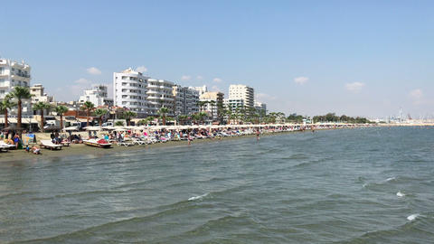 Finikoudes beach in Larnaca, Cyprus Footage