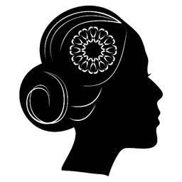Beautiful profile silhouette of lady with a bun and lace flower in hair. classic Vector